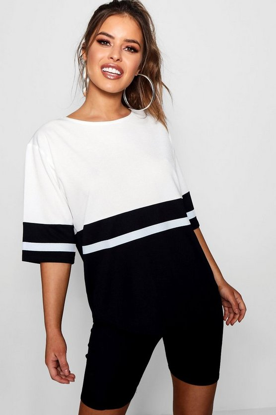 Petite Colour Block Oversized T-Shirt