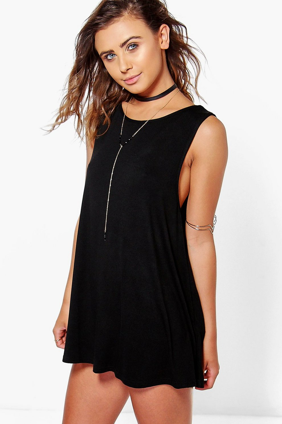 72725f30fb2a Womens Black Petite Drop Armhole Swing Dress