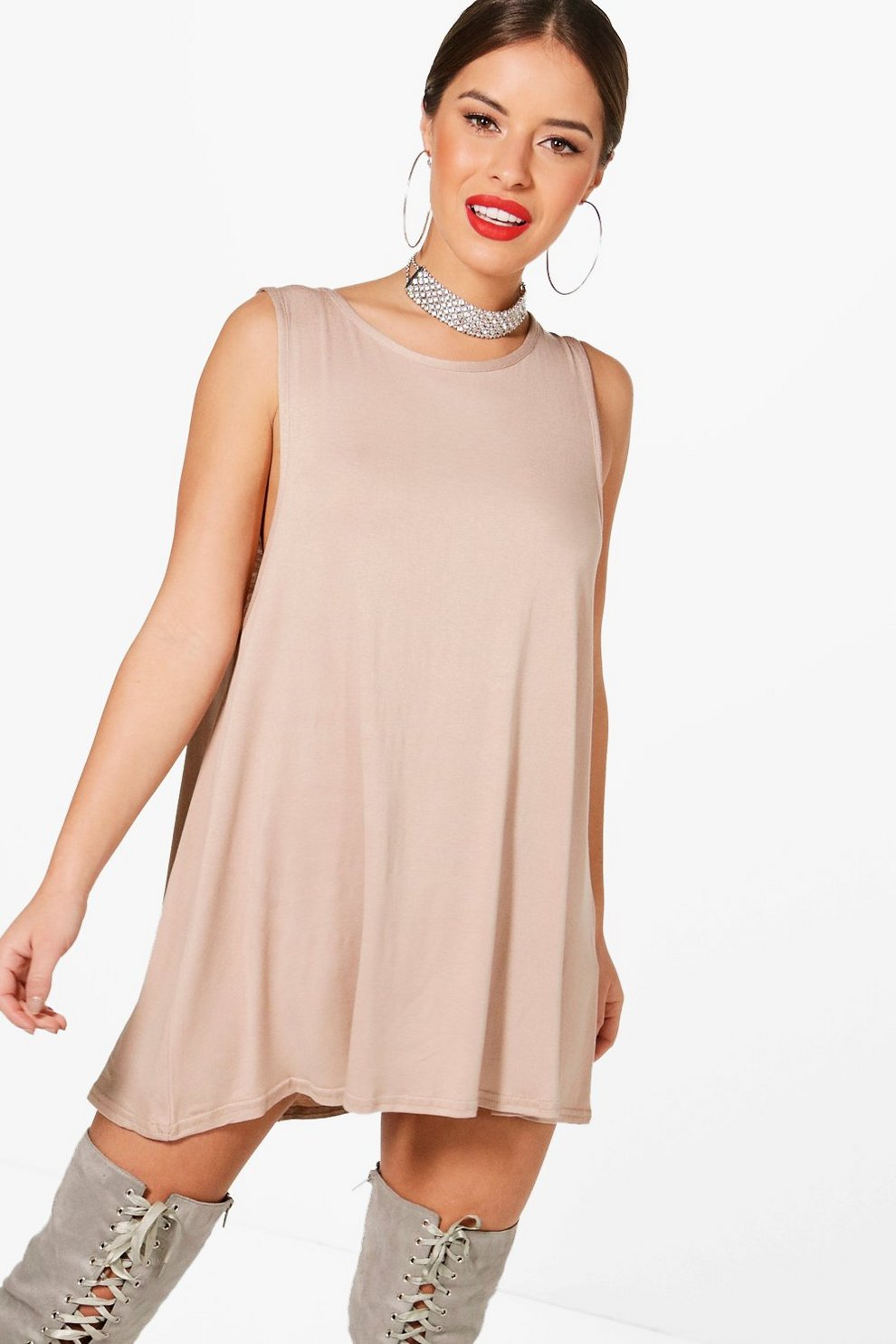 6074ecf3e1cd Petite Drop Armhole Swing Dress | Boohoo