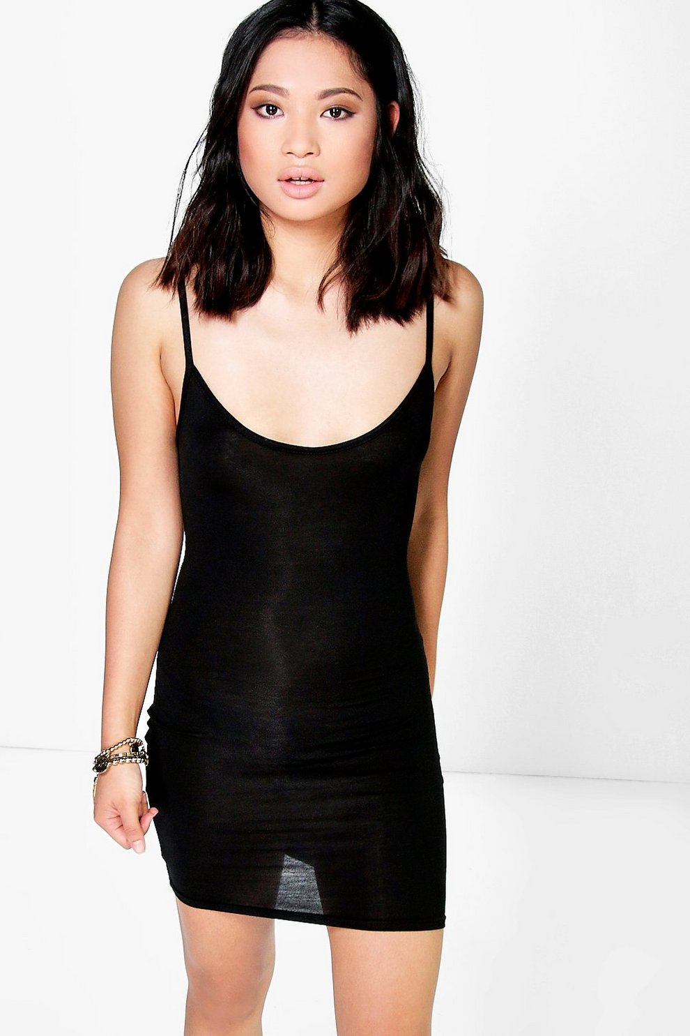 6d716a1ca0 Petite Frey Basic Scoop Neck Bodycon Dress | Boohoo