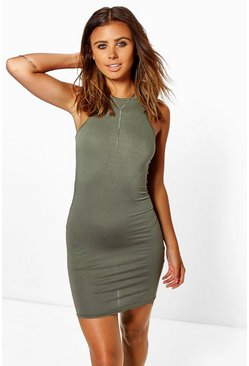 Womens Khaki Petite  Sleeveless Mini Bodycon Dress