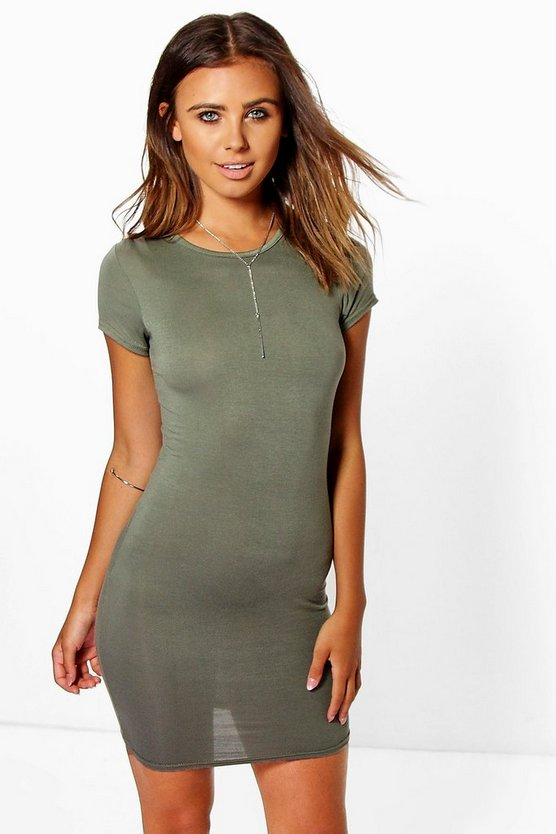 Khaki Petite  Cap Sleeve Mini Bodycon Dress