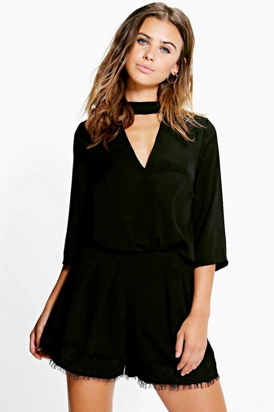 Petite Madison 3/4 Sleeve Open Neck Blouse