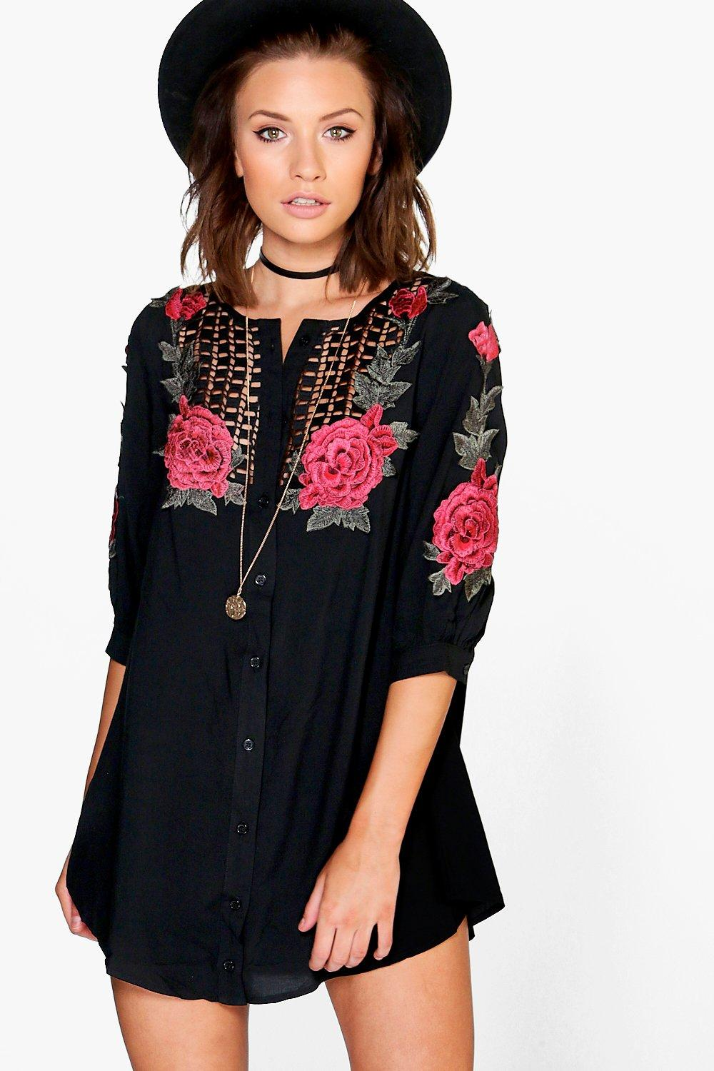 09f1be97ce8b Womens Black Petite Daniella Embroidered Shirt Dress. Hover to zoom