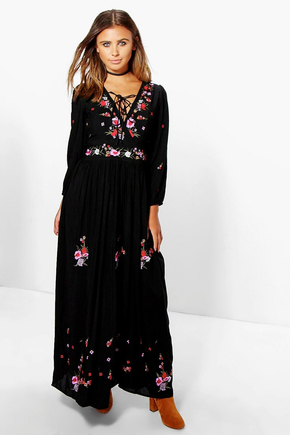 f1c765316878 Petite Evelyn Embroidered Maxi Dress | Boohoo