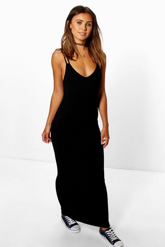 Womens Black Petite  Strappy Basic Maxi Dress