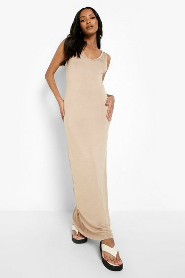 Stone Petite  Strappy Basic Maxi Dress