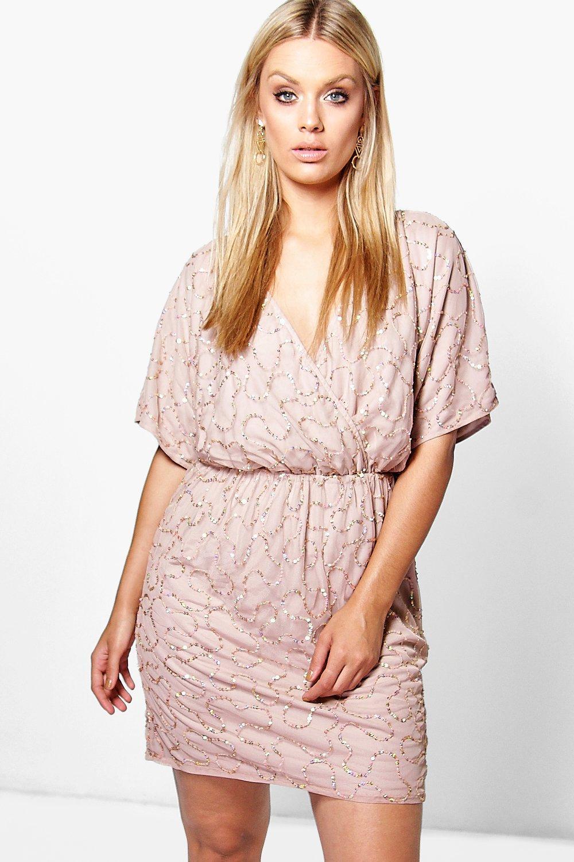 a775ec0491d6 Plus Laylah Sequin Wrap Dress | Boohoo