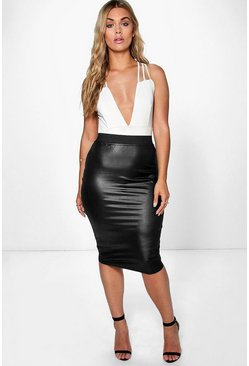 Womens Black Plus  PU Midi Skirt