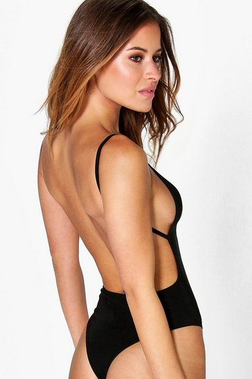 Womens Black Petite  Backless Strappy Thong Bodysuit