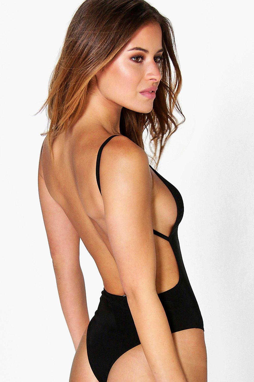 5eca5732a5 Boohoo Womens Petite Louisa Backless Strappy Thong Bodysuit 10 ...