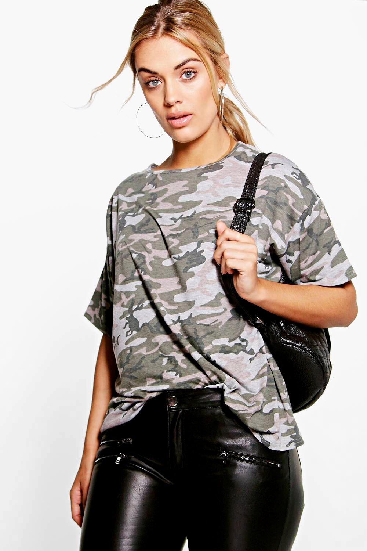 womens plus camo oversize t-shirt - multi - 12