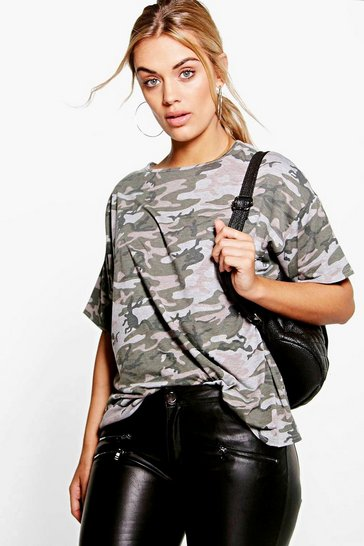 Womens Multi Plus Camo Oversize T-Shirt