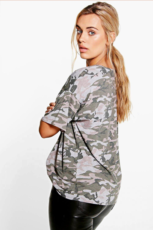 Camo Oversize multi Shirt Plus T gHwdn4