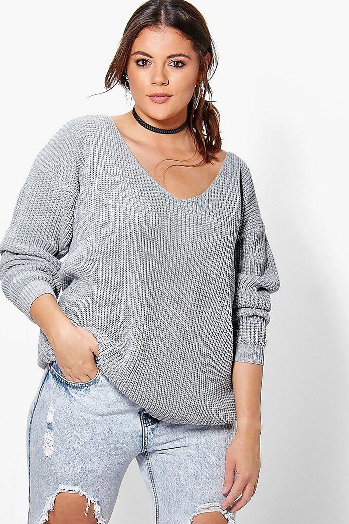 Plus Oversized V Neck Sweater