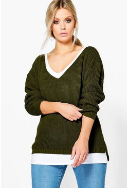 Womens Khaki Plus Oversized V Neck Jumper