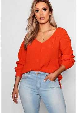 Womens Orange Plus Oversized V Neck Jumper