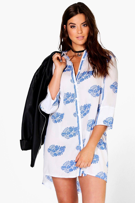 01b1d25f96b8 Womens Multi Plus Ebony Printed Shirt Dress. Hover to zoom