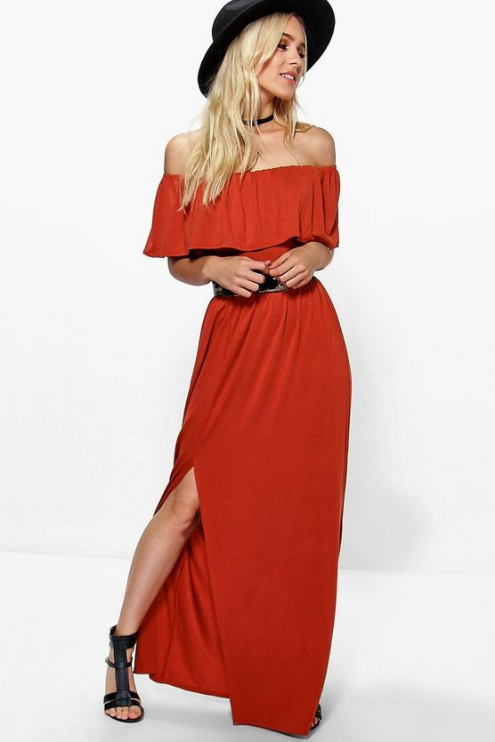 Womens Chestnut Petite Aria Ruffle Bandeau Split Front Maxi Dress