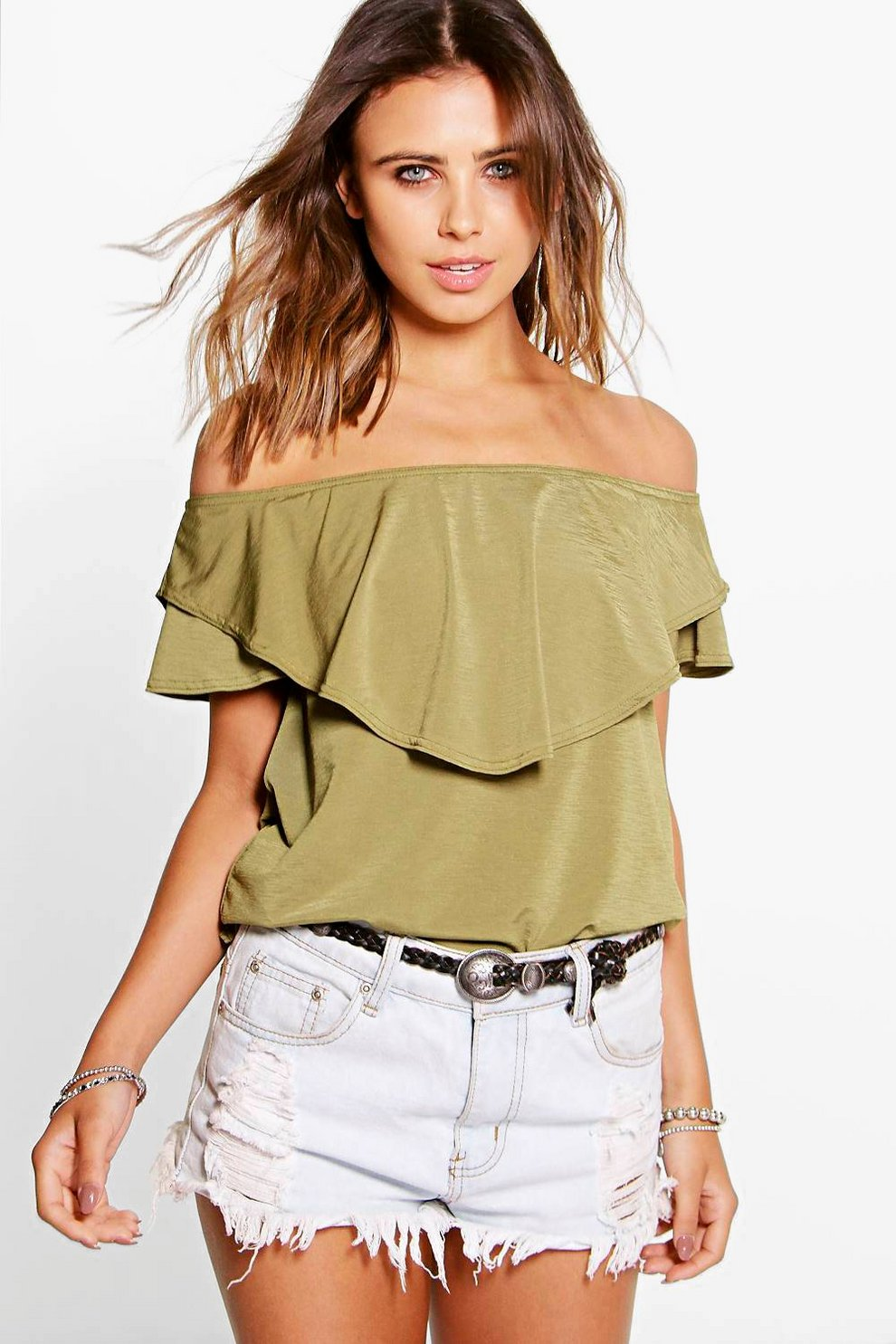 f6f82ffe410 Petite Izzie Double Layer Bardot Top | Boohoo