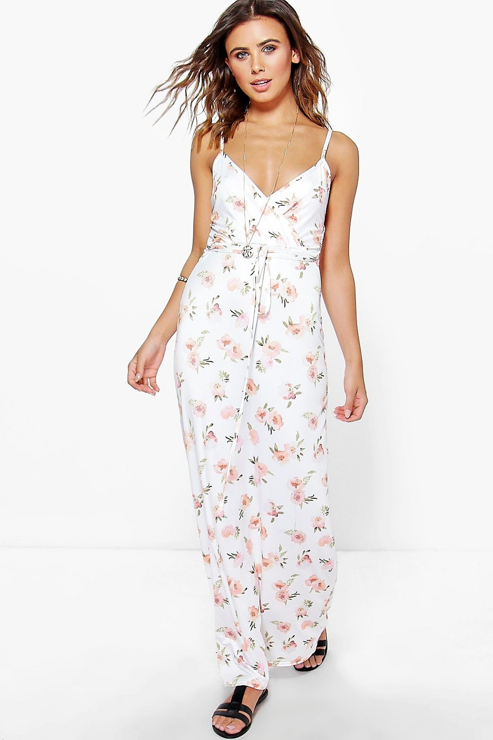 d3d33ff4aa Womens White Petite Adora Wrap Over Maxi Dress. Hover to zoom