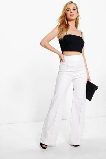 Womens Ivory Petite High Waisted Wide Leg Trouser