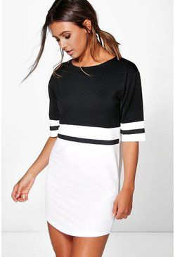 Womens Multi Petite  Curve Hem Colour Block Shift Dress