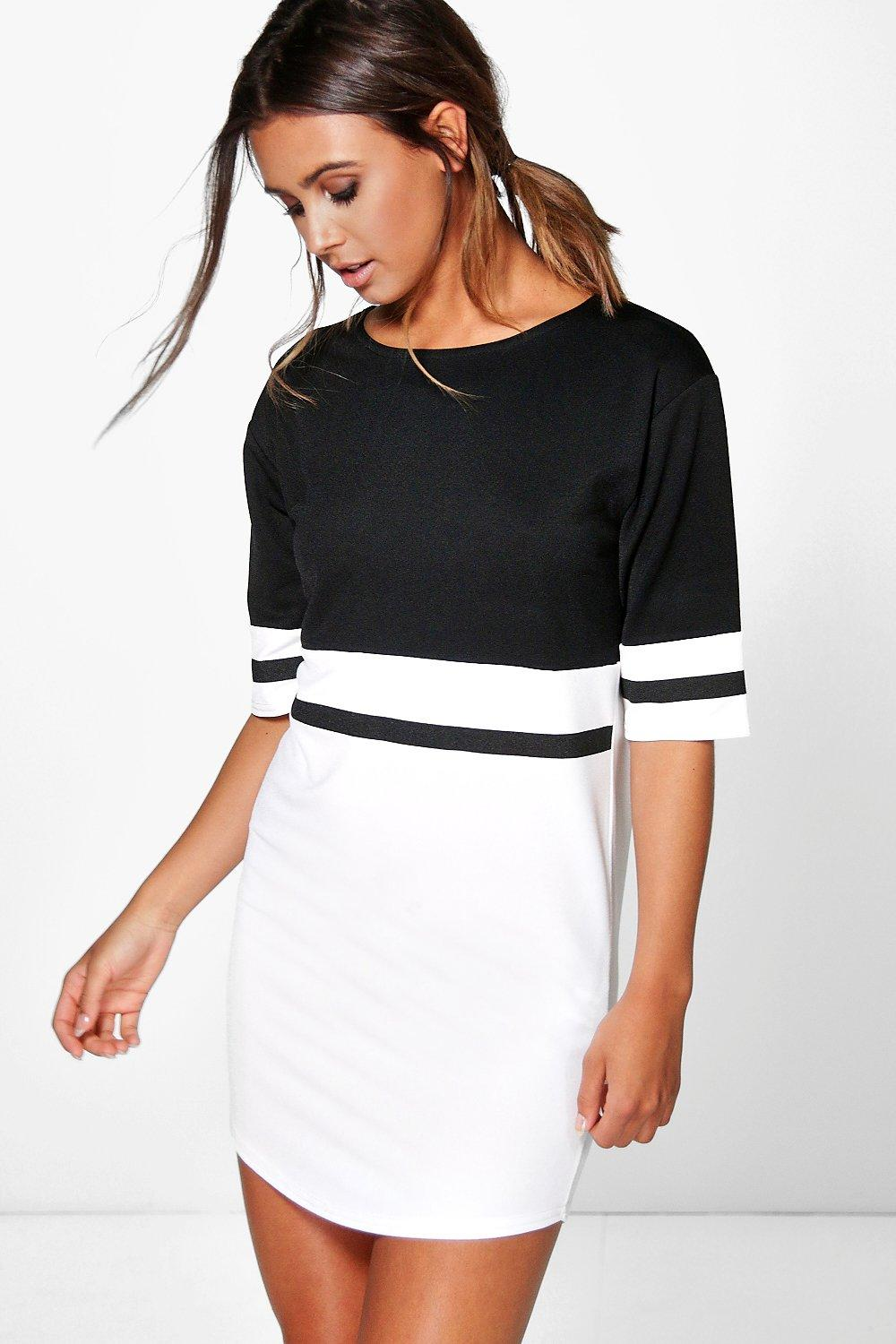 6a8c3c34a3bde Petite Curve Hem Colour Block Shift Dress | Boohoo