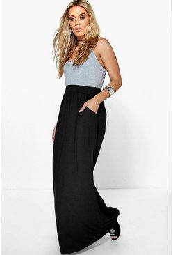 Black Plus  Pocket Front Jersey Maxi Skirt