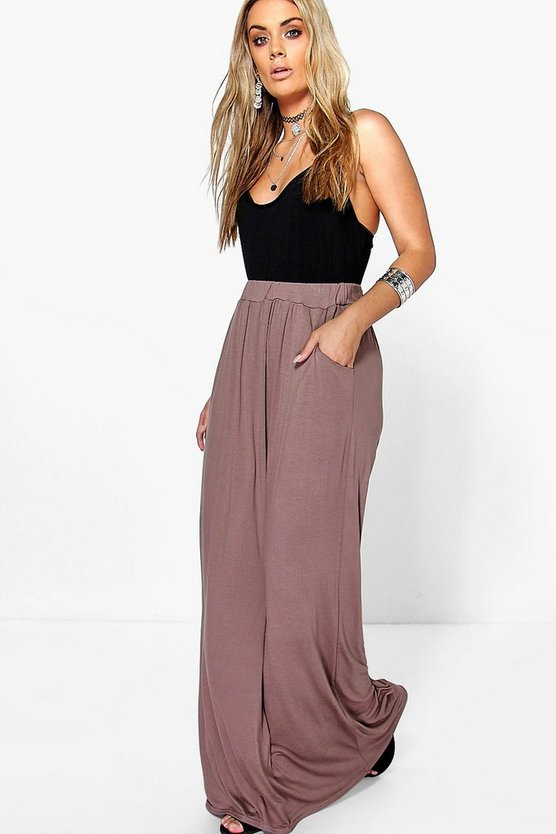 Womens Mocha Plus  Pocket Front Jersey Maxi Skirt