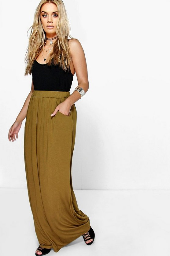 Womens Olive Plus  Pocket Front Jersey Maxi Skirt