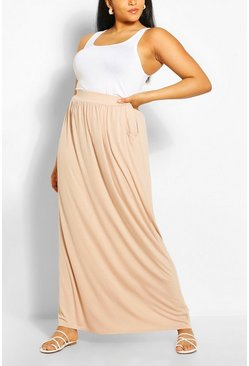 Stone Plus  Pocket Front Jersey Maxi Skirt