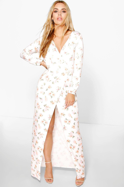 5147926daa Plus Casey Floral Wrap Maxi Dress   Boohoo