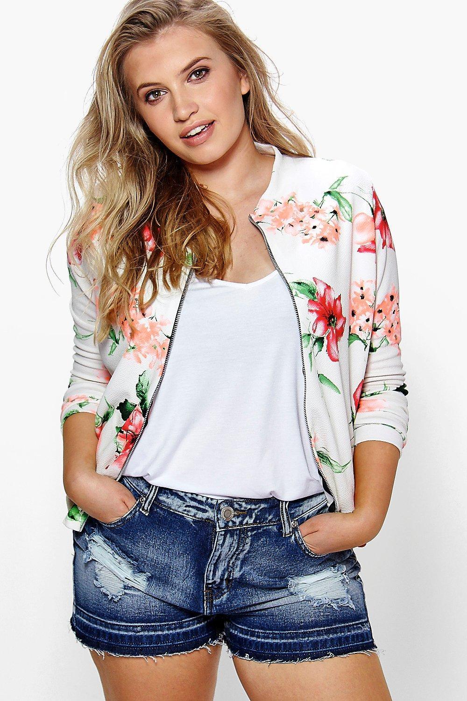 23b00391334bf Plus Sadie Floral Bomber Jacket. Hover to zoom