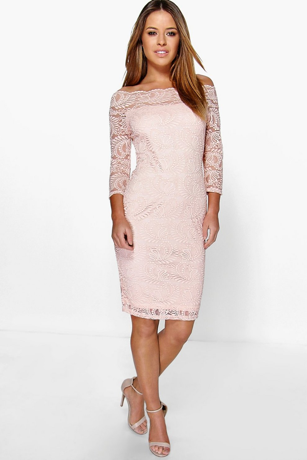 eee13cf3cde8 Womens Nude Petite Lace Bardot Midi Dress