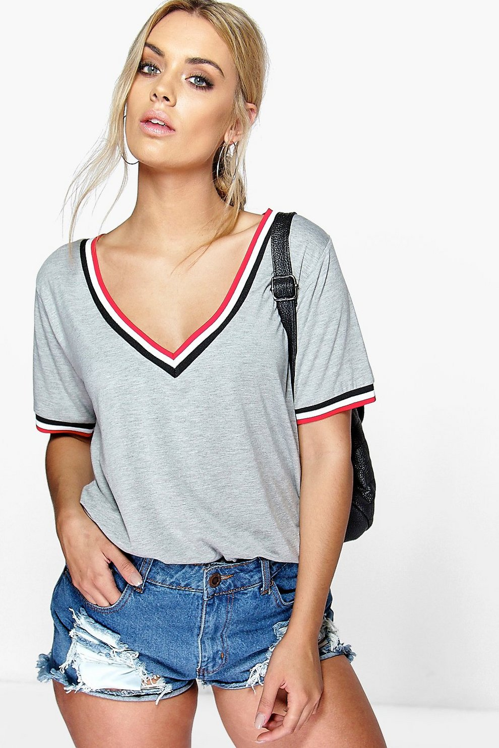 7ca68a578d46 Womens Grey Plus Rib V Neck Detail T-Shirt
