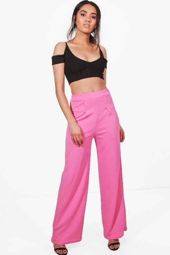 Petite Wide Leg Pleat Trouser