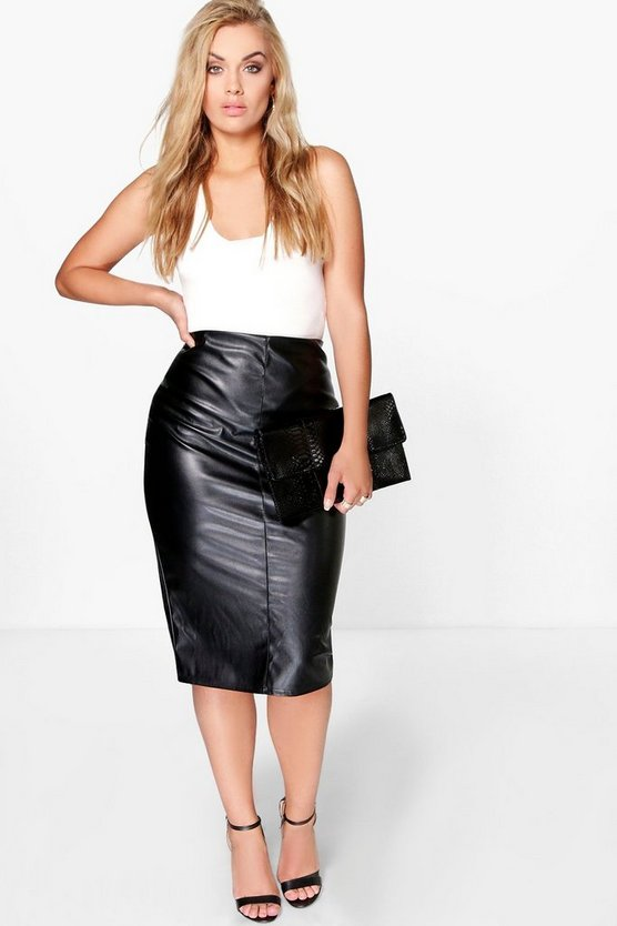 Womens Black Plus Phoebe PU Midi Skirt