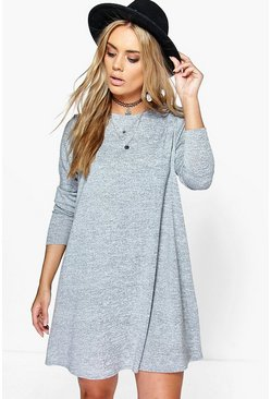 Womens Grey marl Plus  Swing Dress
