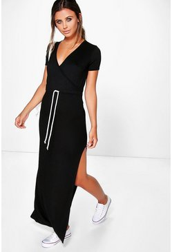 Womens Black Petite Wrap Front Drawstring Waist Maxi Dress