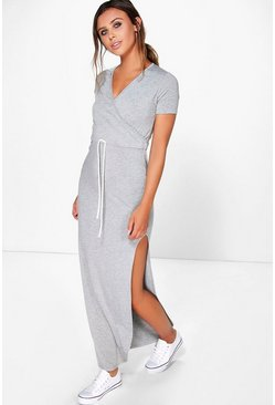 Womens Grey marl Petite Wrap Front Drawstring Waist Maxi Dress