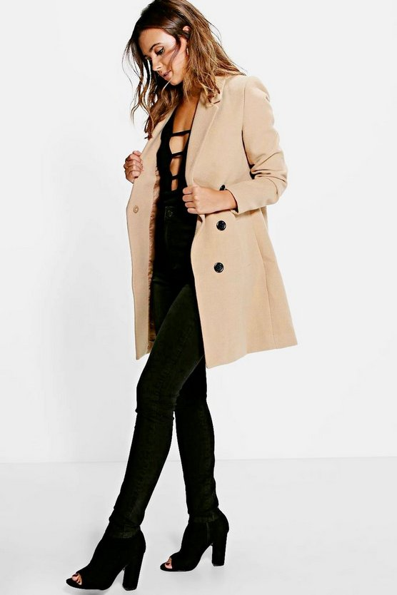 Womens Camel Petite  Double Breasted Camel Duster Coat
