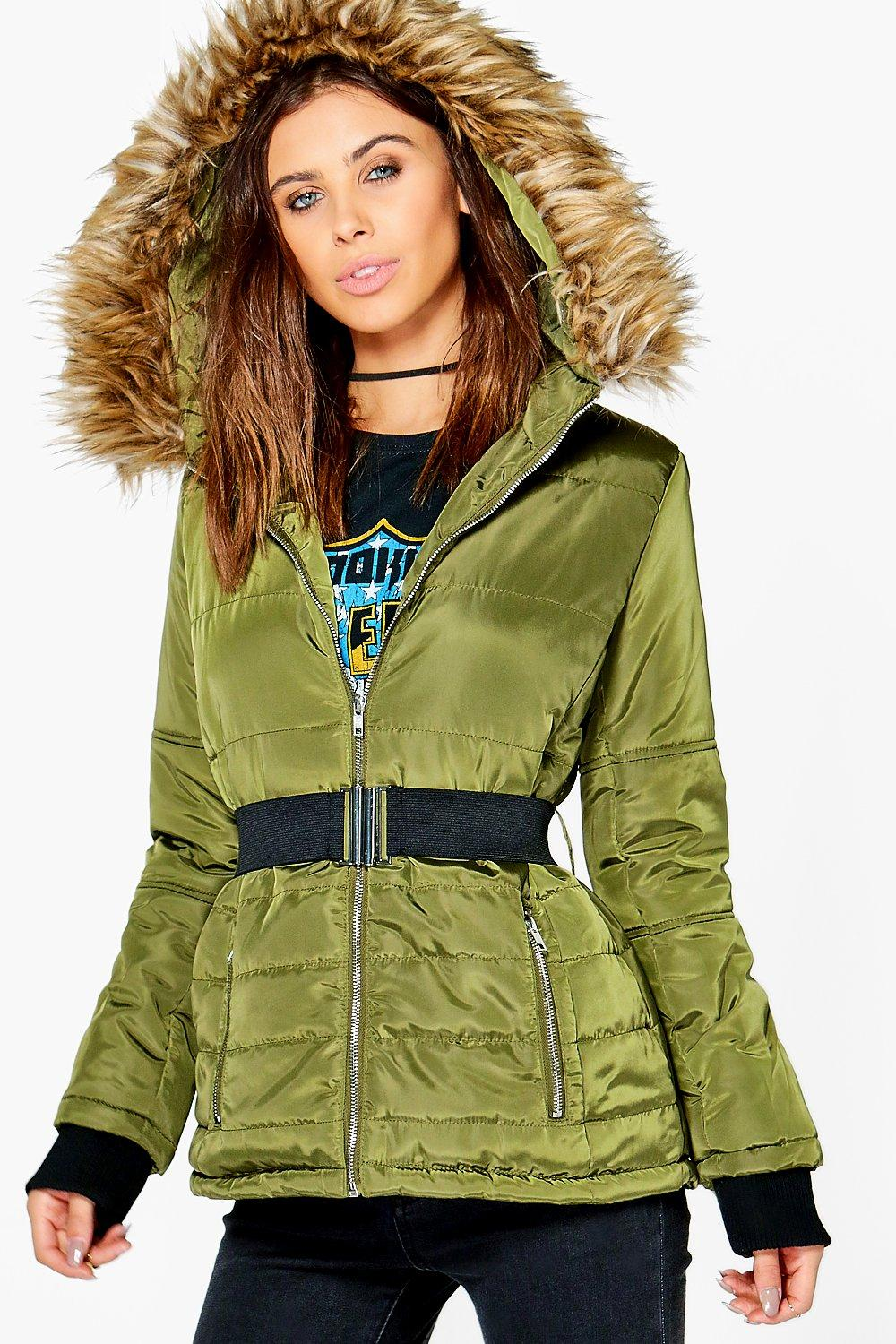 Petite Sophie Quilted Jacket With Faux Fur Hood Boohoo