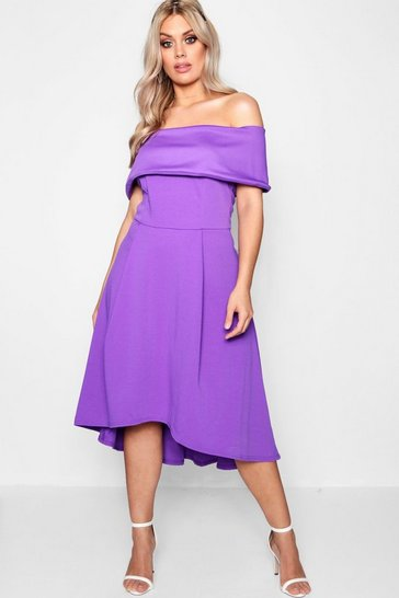 Blackcurrant Plus  Double Layer Midi Dress