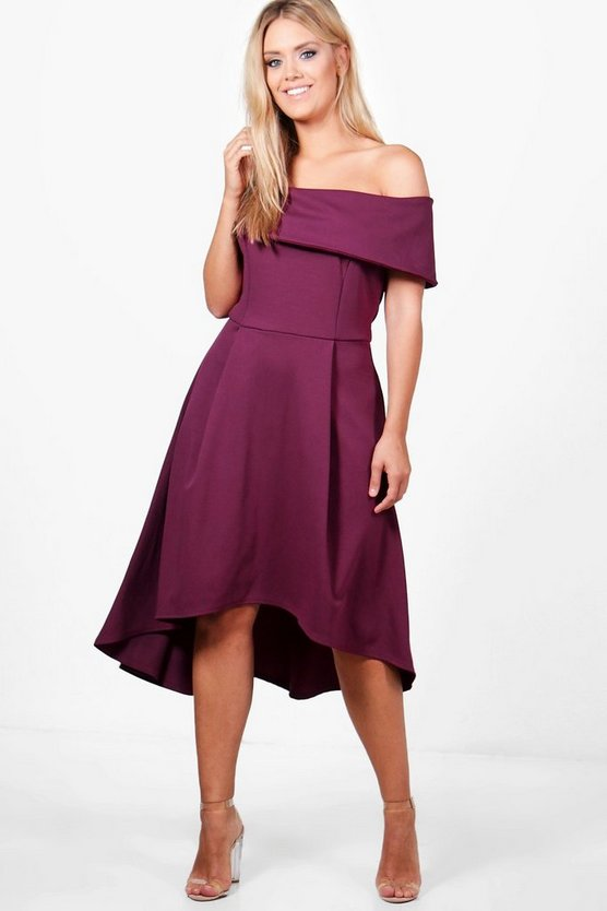 Womens Burgundy Plus Double Layer Midi Dress