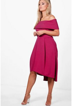 Womens Cerise Plus Double Layer Midi Dress