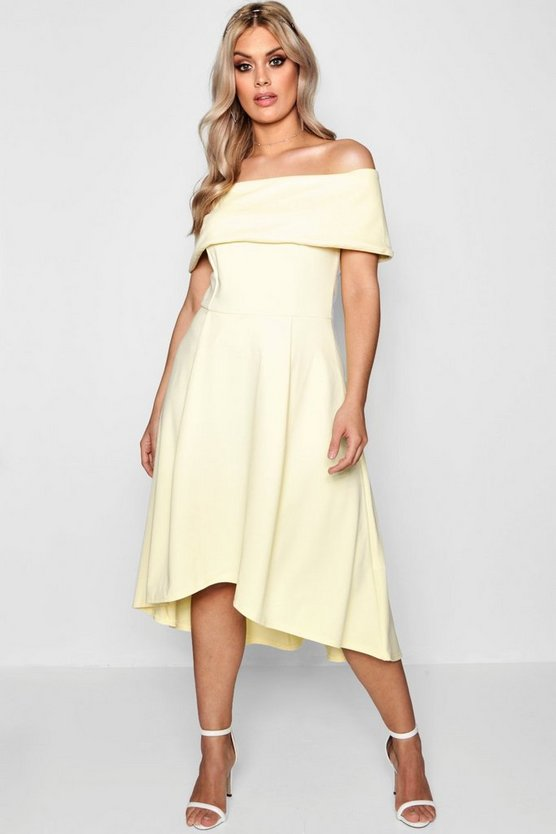Womens Lemon Plus Double Layer Midi Dress