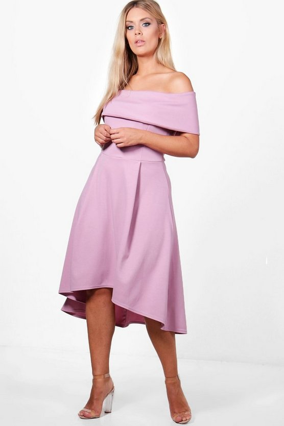 Plus Double Layer Midi Dress