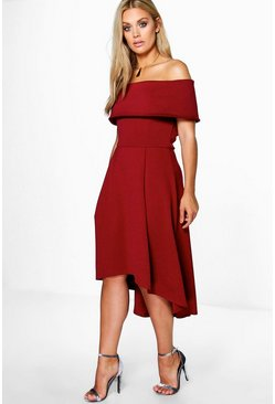 Womens Merlot Plus Double Layer Midi Dress