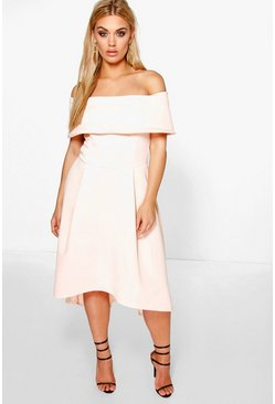 Womens Nude Plus Double Layer Midi Dress